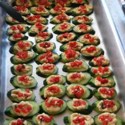 Cucumber with Roasted Red Pepper Hummus